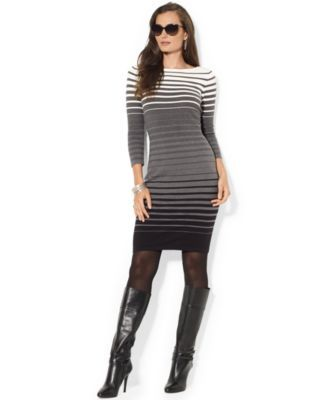 Lauren Ralph Lauren Petite Ombré Striped Sweater Dress