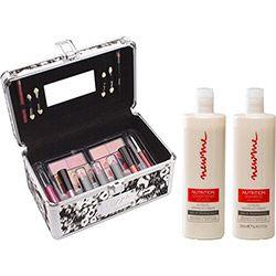 Kit Shampoo 500ml + Condicionador 500ml New Me by Alfaparf + Maleta de Maquiagem Fenzza Fetiche Savage - 3 Batons; 4 Lip gloss; 2 Cartelas de sombras com 5 unidades cada; 2 cartelas de blush, 1 lápis para olhos e 1 lápis labial. #Shoptime #NewMe