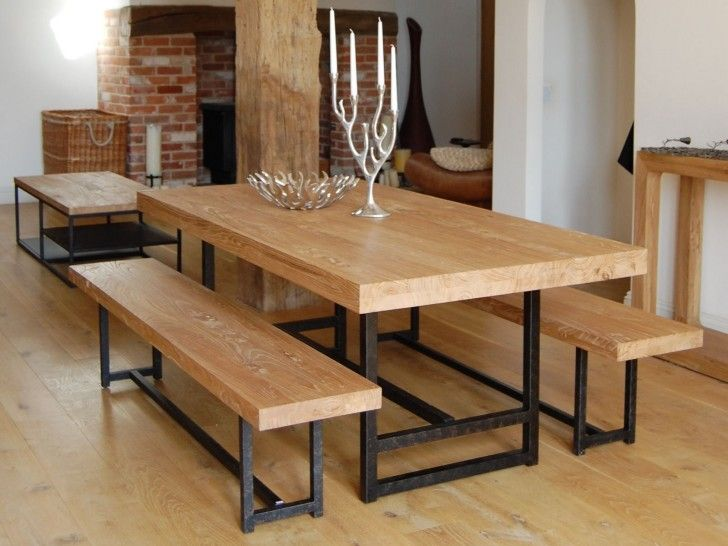 Rectangle Light Brown Wooden Table And Bench With Black Steel Legs Plus Foot Rest Placed On The Flooring Astounding Wood Metal Dining