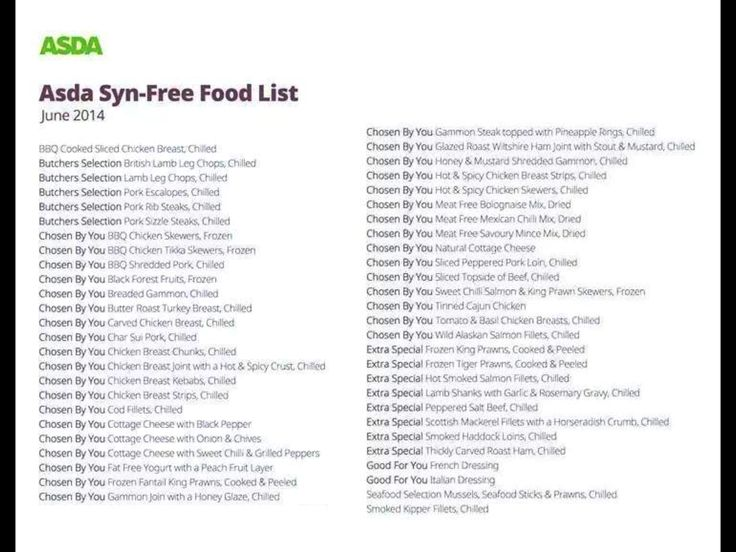 Slimming World - Asda Syn-Free Food List | Slimming World ...