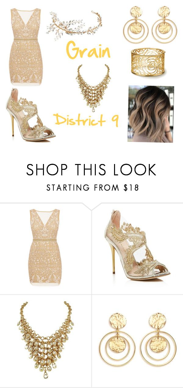 """""""District 9 (hunger games)"""" by leenybean1509 ❤ liked on Polyvore featuring Nicole Miller, Oscar de la Renta, Kenneth Jay Lane and Nina"""