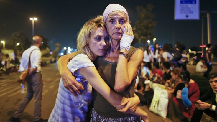 People embrace after Istanbul airport blast