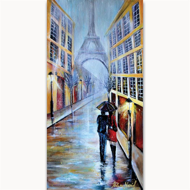 Paris under the rain Size: 20 x 12 x 2 in. Medium used: Acrylic