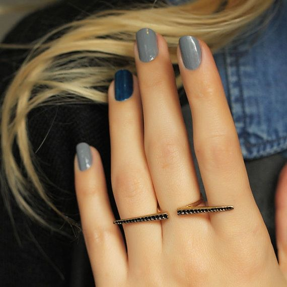 Boho Bohemian Rings-Statement Slave Rings-Gypsy Tribal Rings-Knuckle Rings-Unique Rings-Gold and Black Rings-Nail Jewelry-Antique  Rings