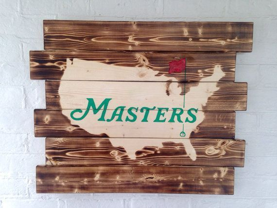 The Masters Golf Tournament wood sign Man Cave by WallyWallhangers