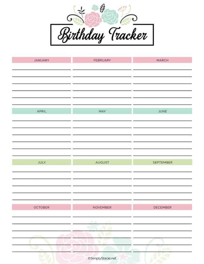2019 Yearly Calendar Free Printable Birthday Tracker Birthday