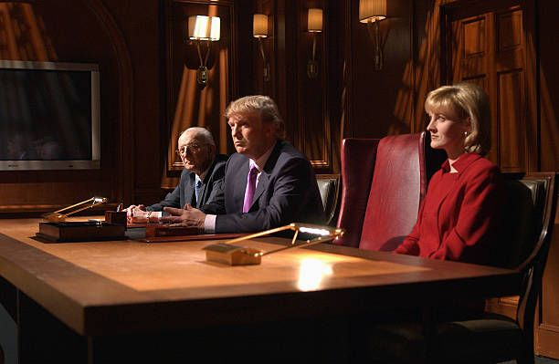 LIVE Episode 16 Air Date Pictured George Ross Donald Trump Carolyn Kepcher during 'The Apprentice' skit on April 3 2004