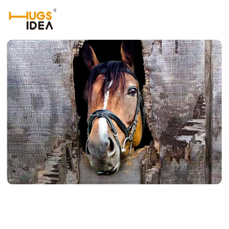 HUGSIDEA 3D Crazy Horse Prints Welcome Entrance Doormat Rugs For Living Room Kitchen Non-slip Rubber Home Floor Carpet Alfombras