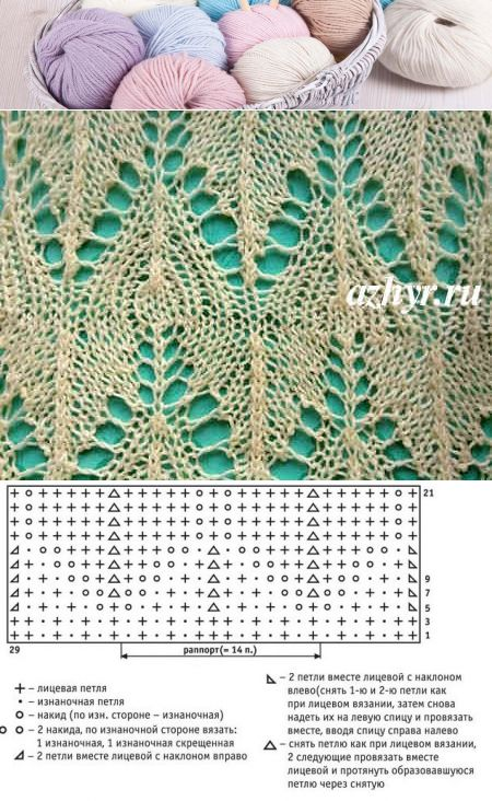 № 27 Ажур - узор спицами, схема | Ажур