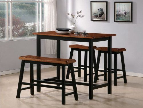 Black and Oak Counter Height Pub Set with Bench: Dining Rooms, Tables Sets, Heights Pub, Crowns Mark, Counters Heights Tables, Homes Kitchens, Oak Counters, Pub Sets, Dining Tables