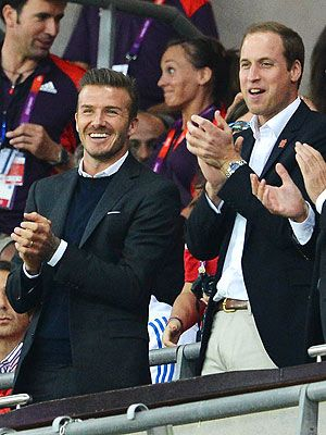 David Beckham and Prince William attend preliminary round football Great Britain vs United Arab Emirates at Wembley Stadium during the 2012 London Olympics on July 28, 2012.