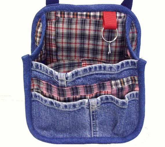 Hanging Car Organizer from upcycled blue jeans
