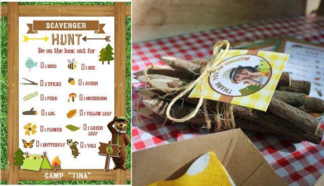 ♣ Etiquetas Yogi Bear - 'Scavenger Hunt'/'Búsqueda del tesoro', se trataba de que los niños encontrarán cada elemento de la lista... incluyendo un oso Yogi ;) y lo marcaban con un lápiz de madera /Branch & Twig Graphite Pencils...