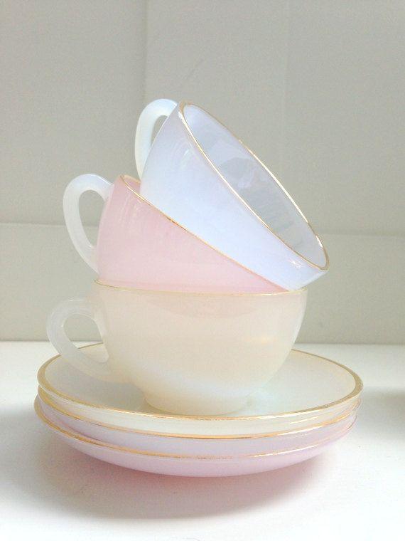 vintage french pastel tea set by Yardofbleu on Easy 1960's Arcopal French tea set