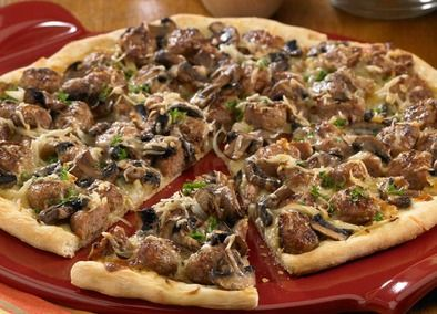 Pork and chicken sausage are used to make this wonderful sounding pizza! YUM!
