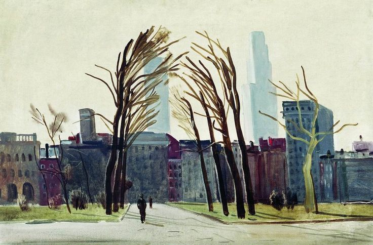 Philadelphia. The old square 1935 year Oil on canvas Astrakhan picture gallery of a name. B. M. Custodiev