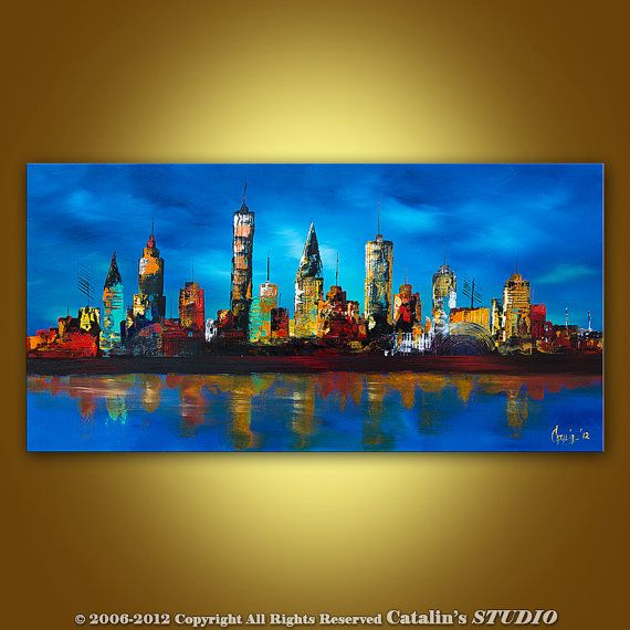 Large Painting Abstract Original Modern Cityscape Art by Catalin, $199.00