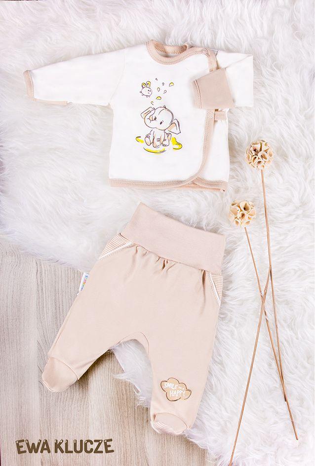 EWA KLUCZE, kolekcja BE HAPPY dla wcześniaków, koszulka i półśpiochy beż  EWA KLUCZE, BE HAPPY collection, jacket and joggers, baby clothes