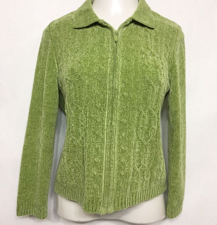 ALFRED DUNNER Womens Green Sweater Size PM / Acrylic LS Zip Up Cardigan #AlfredDunner #Cardigan