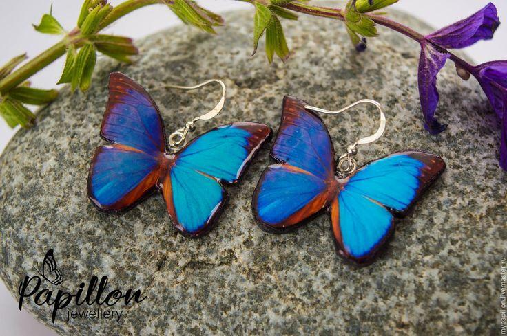 Купить Серьги Бабочки лазурные - синий, серьги ручной работы, серьги, серьги…