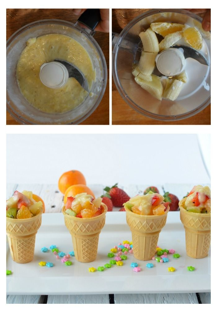 Banana dressing on fruit salad!  This creamy dressing turned our kids fruit salad into something decadent!