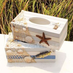 Marine Fish Starfish Sea Ocean Style Wooden Tissue Box Paper Cover Home Decor