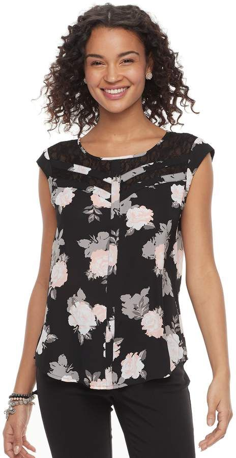 70737670afb Candies Juniors  Candie s Print Lace Inset Top