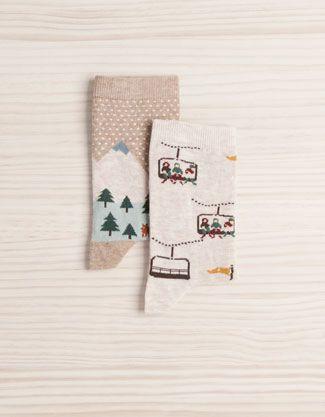 Pack of landscape pattern socks - Socks - Accessories - Spain