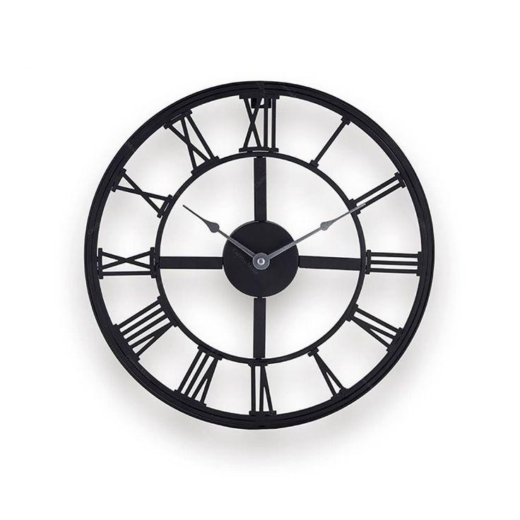 Relógio Vazado com Números Romanos Marrom em Metal - 34 cm
