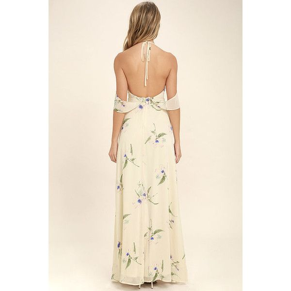 Tuned In Light Beige Floral Print Maxi Dress ($78) ❤ liked on Polyvore featuring dresses, beige maxi skirt, long maxi skirts, tie-dye maxi dresses, floral print maxi skirt and pink chiffon maxi skirt