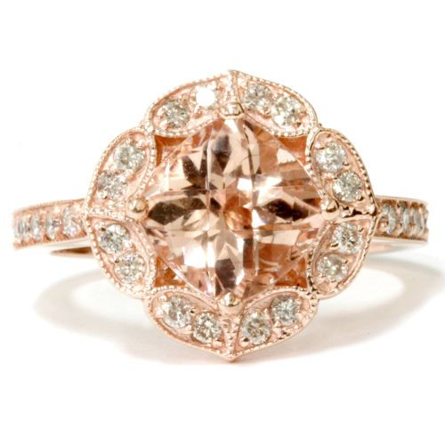 2-83-Ct-Cushion-Morganite-Vintage-Antique-Engagement-Diamond-Ring-14KT-Rose-Gold