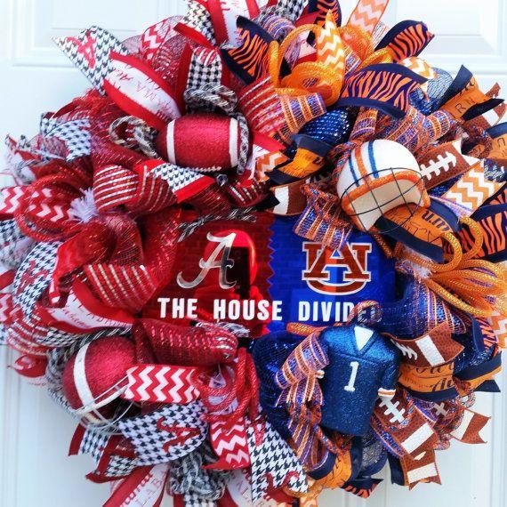 Alabama AU House Divided Wreath-Roll Tide War Eagle- Collegiate Wreath-Sports Wreath- House Divided Door Wreath-Game Day Football Wreath