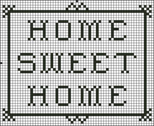 Free Home Sweet Home Saying Cross Stitch Pattern - Free Printable Chart