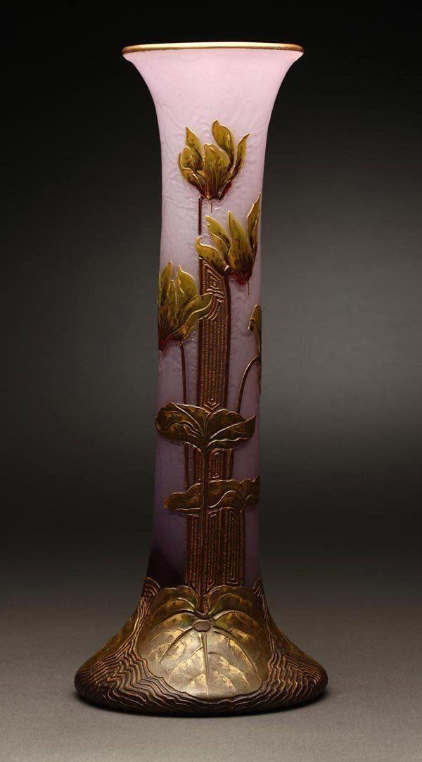 A Mont Joye Art Nouveau cameo glass foliate vase