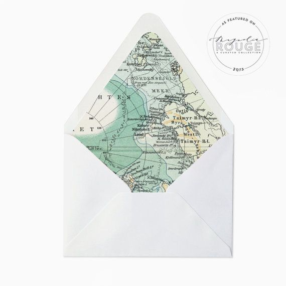 Whimsical and unique, these vintage map envelope liners are the perfect addition to your destination wedding printables or any stationery needs -