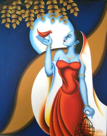 Chitra Singh, Indian Woman Artist, Abstract Figurative and Spritiual Modern Contemporary Paintings