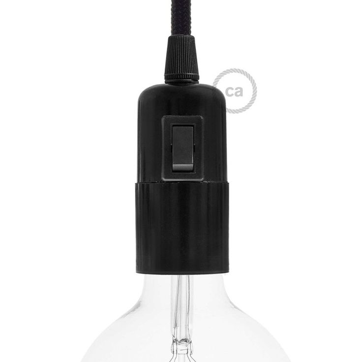 """The E27 smooth lamp holder in black bakelite with switch allows you to to connect any E27 fitting lightbulb. The switch allows you to switch on and off directly from the lamp holder, allowing the creation of suspension or table lamps even without a wall switch.  The black bakelite guarantees a very elegant """"vintage look"""". 100% Made in Italy, certified according to the most severe European regulations (IMQ-ENEC). Choose the economy packaging from the menu to have the best price! Are you a…"""