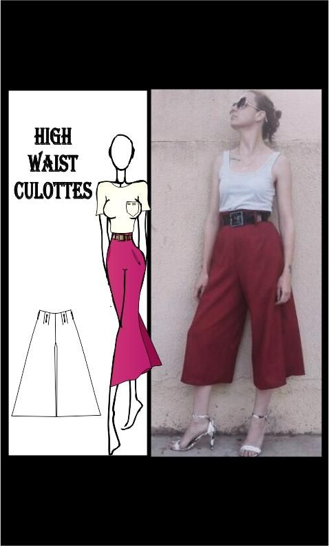 High Waist Culottes Sewing Pattern, sewing patterns, free patterns, learn to sew, ladies pants pattern, easy sewing pattern, Athleisure, fashion