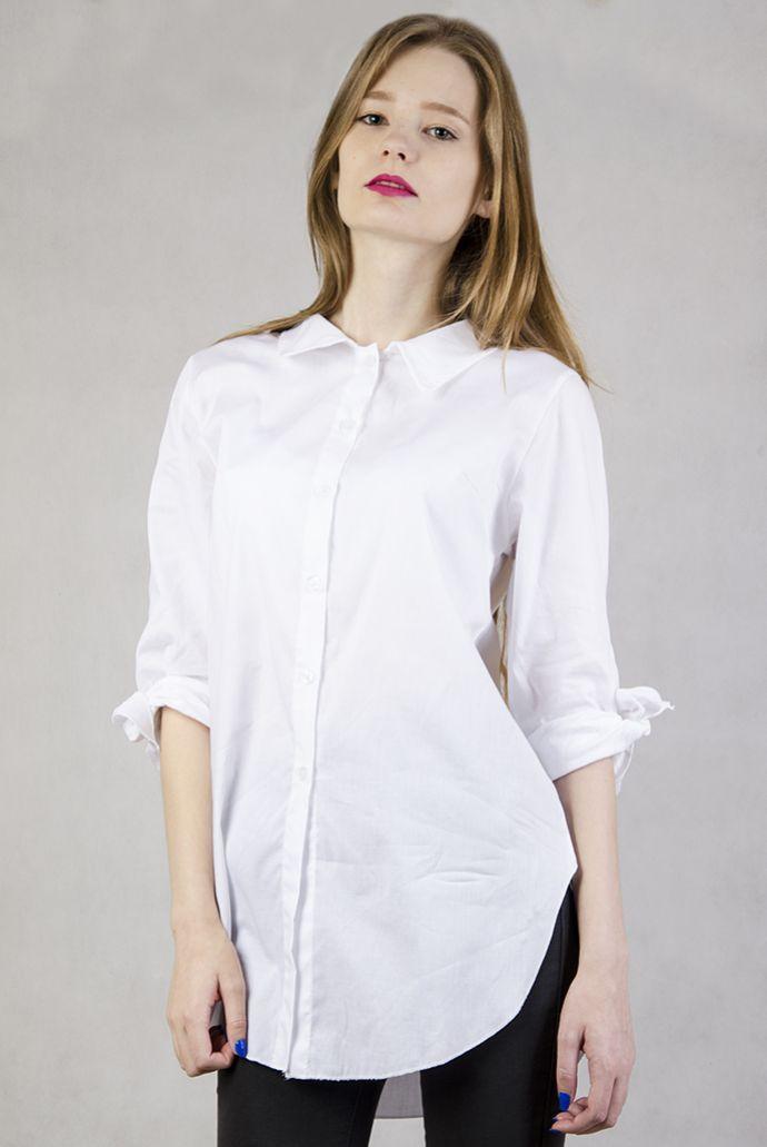 Biała koszula z kokardą przy mankietach
