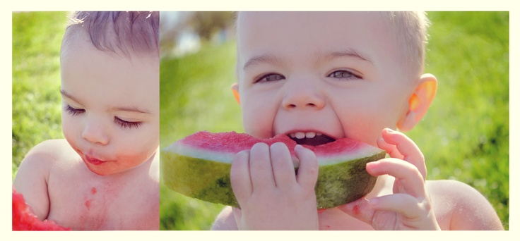 Need a photo shoot idea? Just give a toddler watermelon and enjoy! Toddler photo shoot