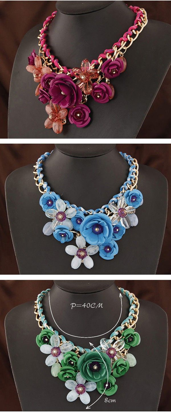 Tall Light Blue Gemstone Decorated Flower Design Alloy Fashion Necklaces,Fashion Necklaces