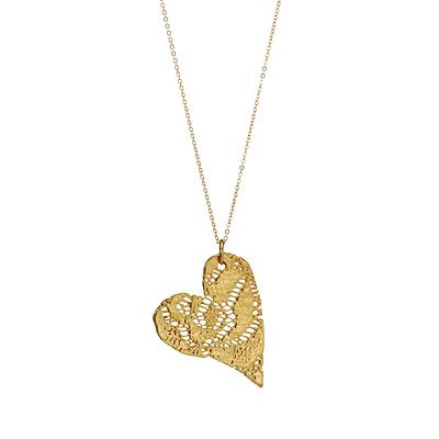 PRECIOUS GOLD DIPPED LACE HEART NECKLACE