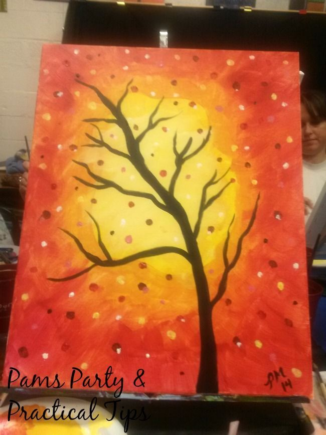 Easy Fall Painting Ideas Fall Tree Painting Fall Canvas Painting Autumn Painting