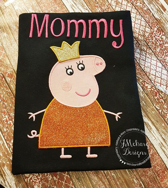 Peppa Pig Family Queen Mummy Pig Birthday Embroidered Shirt