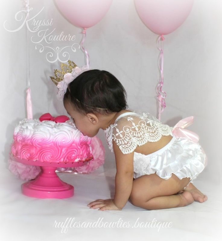Amy White Vintage Lace 6 Month & First Birthday White Ruffle Romper