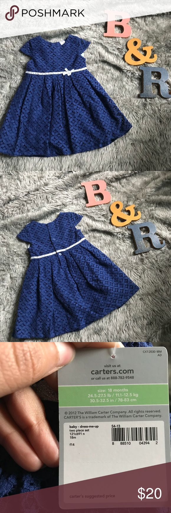 Navy blue and silver bow dress from Carters! Navy blue floral lace material with a silver bow. Brand new, tags still on. Carter's Dresses Formal