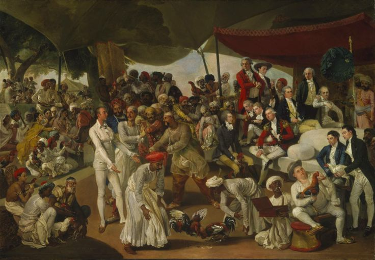 'Colonel Mordaunt's Cock Match' c.1784-6, Johan Zoffany,The painting depicts a cock match between Asaf-ud-daula, Nawab Wazir of Oudh (standing in the centre) and Colonel John Mordaunt (standing on the left in white), a keen cock-fighter who had brought out from England game-cocks which he was confident would defeat native-bred birds. The outcome of the match is unknown. Cock-fighting was widely regarded as a vicious, ungentlemanly sport. Tate