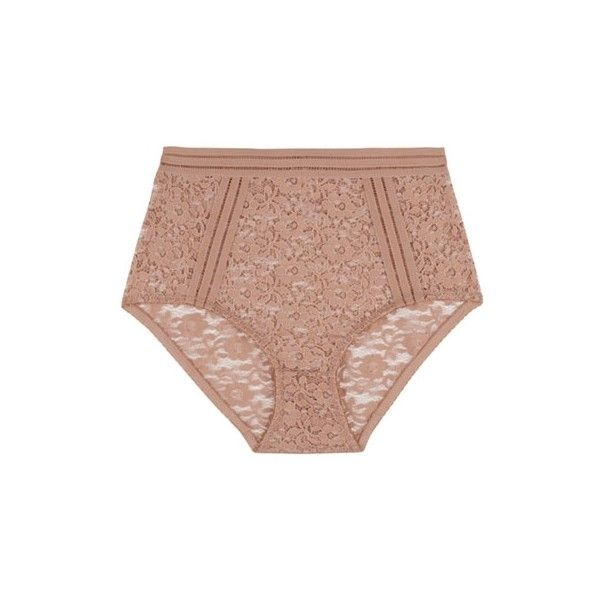 Lonely Taupe Agnes High Waist Brief ($42) ❤ liked on Polyvore featuring intimates, panties, underwear, lingerie, undies, floral panties, lacy panties, lacy lingerie, high rise panties and floral print panties
