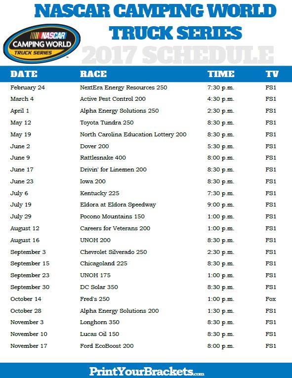 Printable Nascar Camping World Truck Series Schedule