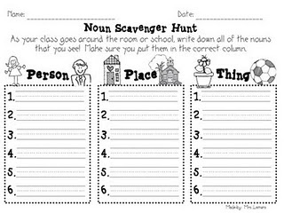 Noun scavenger Hunt, plus other noun activities